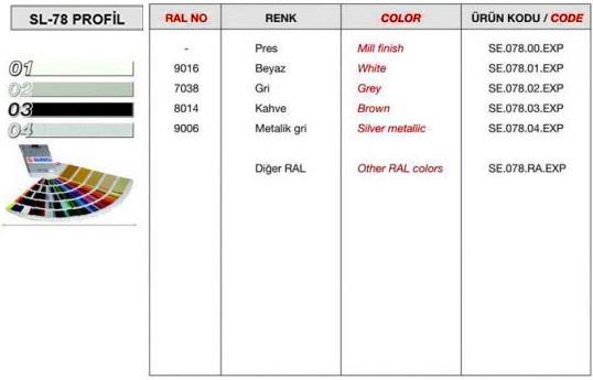 sl-78-profil-renk-tablosu