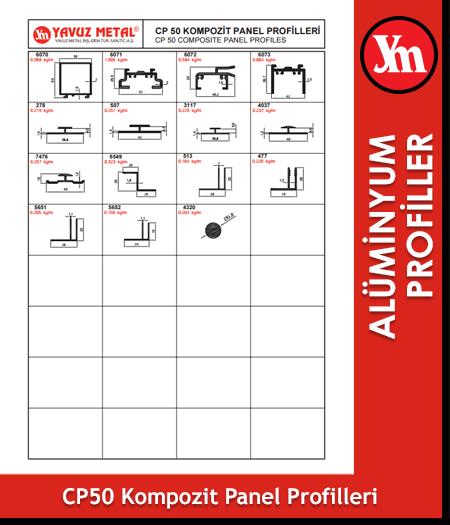 CP 50 Kompozit Panel Alüminyum Profilleri
