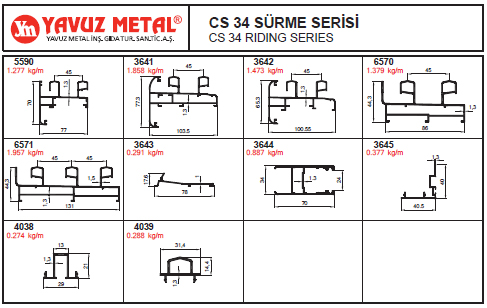 CS 34 Sürme Serisi Alüminyum Profiller - Katalog