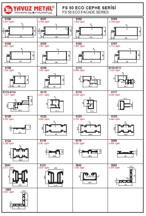 FS 50 Eco Cephe Serisi Alüminyum Profiller - Katalog