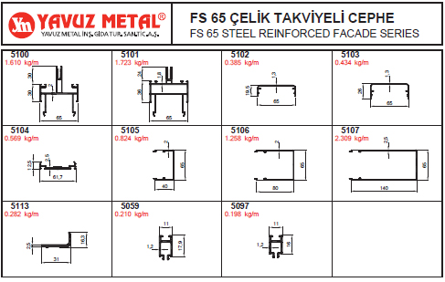 FS 65 Çelik Takviyeli Cephe Alüminyum Profiller - Katalog