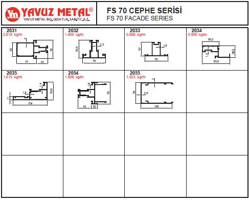 FS 70 Cephe Serisi Alüminyum Profiller - Katalog