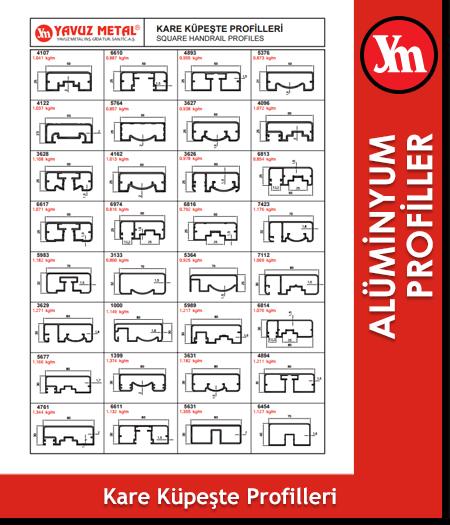 Kare Küpeşte Serisi Alüminyum Profiller