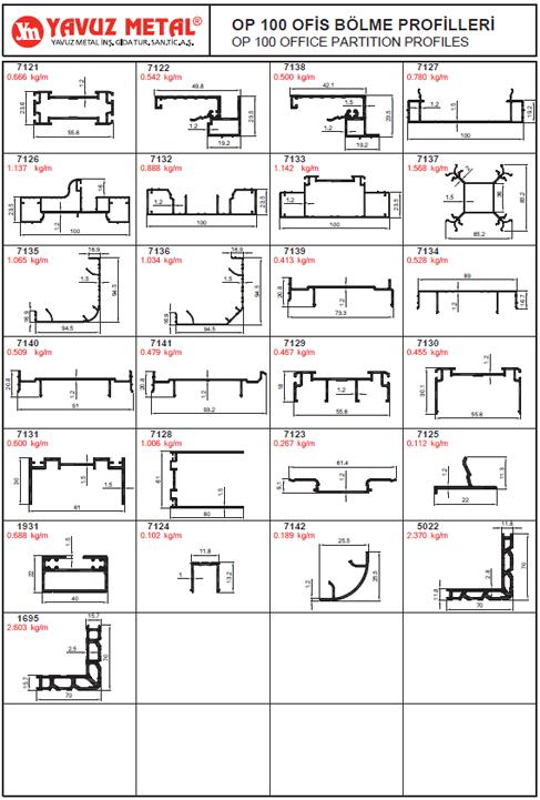 OP 100 Ofis Bölme Alüminyum Profilleri - Katalog