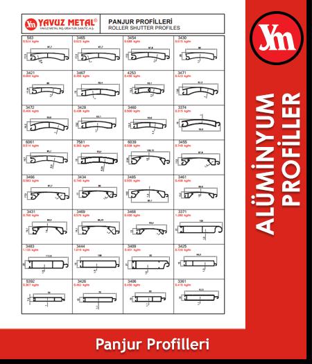Alüminyum Panjur Profilleri