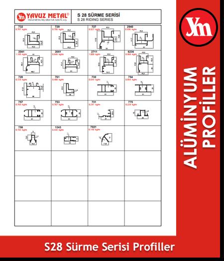 S 28 Sürme Serisi Alüminyum Profiller