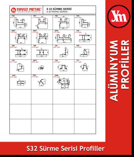 S 32 Sürme Serisi Alüminyum Profiller