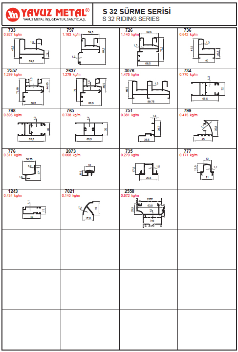 S 32 Sürme Serisi Alüminyum Profiller - Katalog