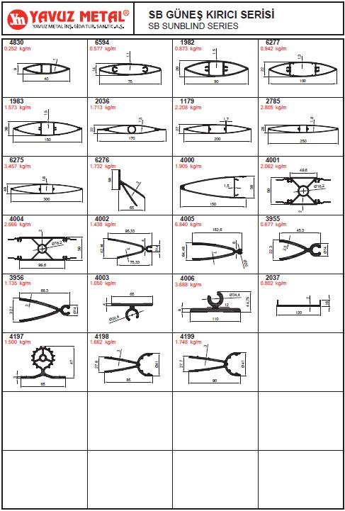 SB Güneş Kırıcı Serisi Alüminyum Profiller - Katalog
