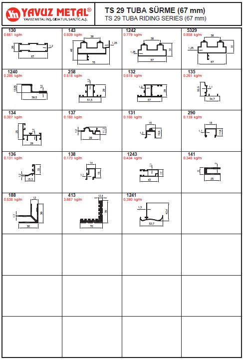 TS 29 Tuba Sürme Serisi Alüminyum Profiller - Katalog