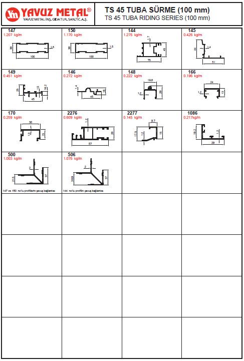 TS 45 Tuba Sürme Serisi Alüminyum Profiller - Katalog
