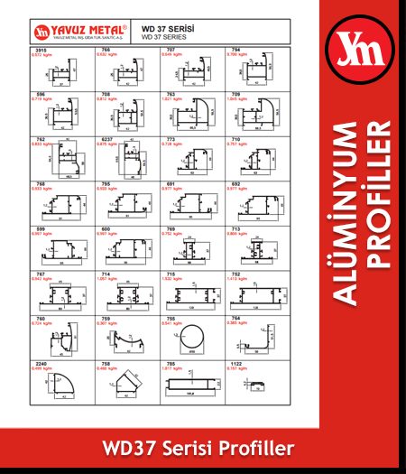 WD 37 Serisi Alüminyum Profiller