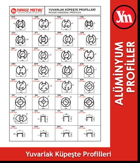Küpeşte Serisi Alüminyum Profiller